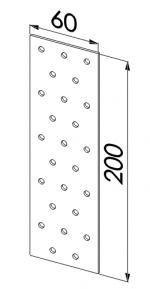 Пластина прямая оцинкованная 60x200