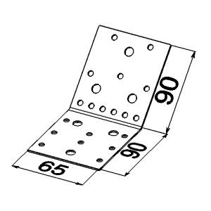 Пластина 135 градусов 90x90x65