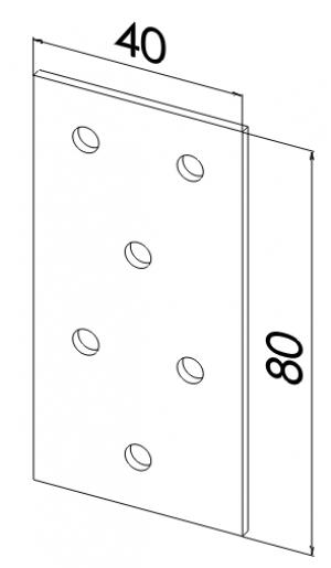 Пластина прямая оцинкованная 80x40