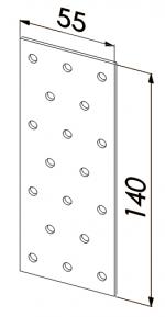 Пластина прямая оцинкованная 140x55